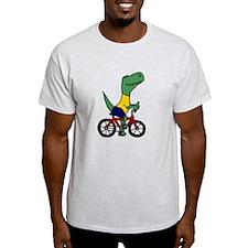 T-rex Dinosaur Riding Bicycle Cartoon T-Shirt