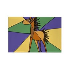 Colorful Horse Folk Art Rectangle Magnet