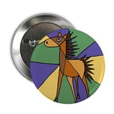 "Colorful Horse Folk Art 2.25"" Button"