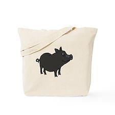 Funky Grey Pot Bellied Pig Tote Bag