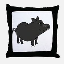 Funky Grey Pot Bellied Pig Throw Pillow