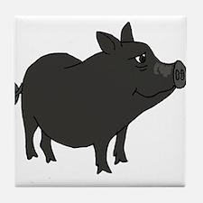 Funky Grey Pot Bellied Pig Tile Coaster