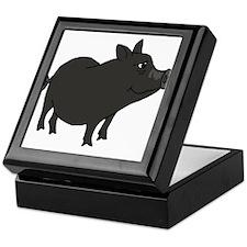 Funky Grey Pot Bellied Pig Keepsake Box