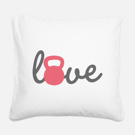 Love Kettlebell in Pink Square Canvas Pillow