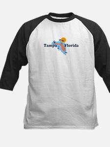 Tampa Florida - Map Design. Kids Baseball Jersey