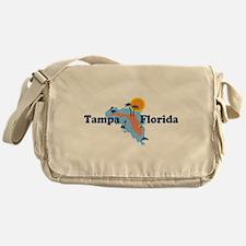 Tampa Florida - Map Design. Messenger Bag