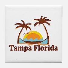 Tampa Florida - Palm Trees Design. Tile Coaster