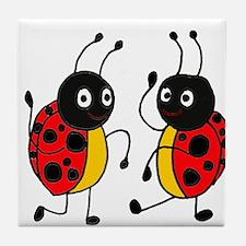 Funny Ladybugs Dancing Tile Coaster