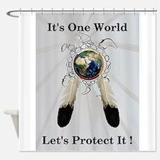 One World Logo Shower Curtain