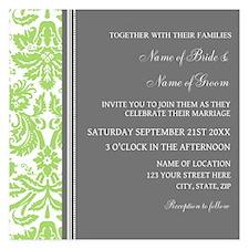 Green Damask Wedding Invitations