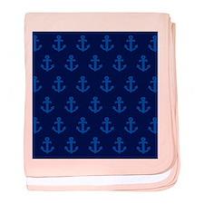 'Navy Anchors' baby blanket