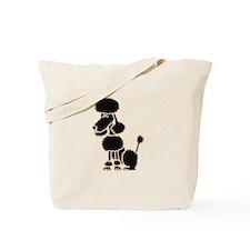 Funky Black Poodle Sitting Tote Bag