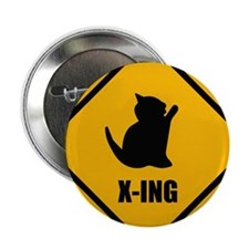 """Cat Crossing 2.25"""" Button"""