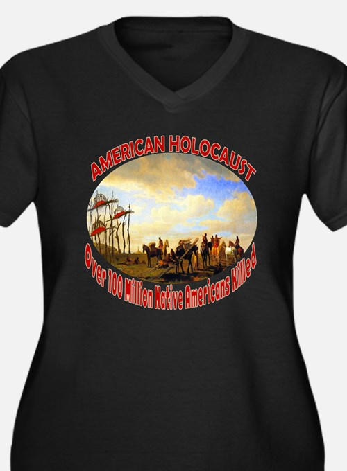 American Holocaust Women's Plus Size V-Neck Dark T