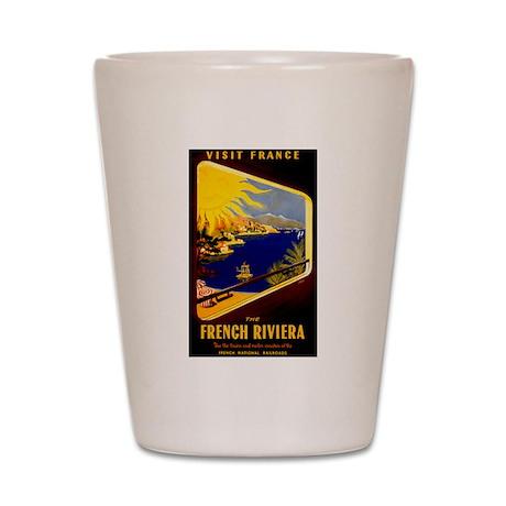 Vintage French Riviera Travel Ad Shot Glass