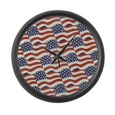 American Flag Pattern Large Wall Clock