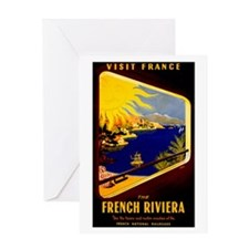 Vintage French Riviera Travel Ad Greeting Card