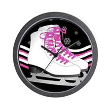 Pink and Black Ice Skating and Snowflake Print Wal