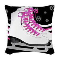 Pink and Black Ice Skating and Snowflake Print Wov