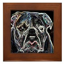Neon Bulldog Framed Tile