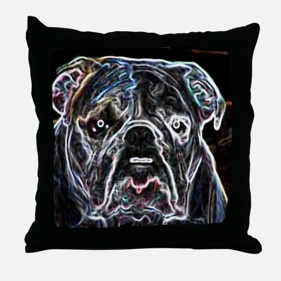 Neon Bulldog Throw Pillow