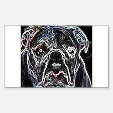 Neon Bulldog Rectangle Decal