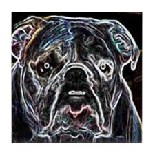 Neon Bulldog Tile Coaster