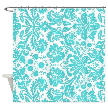 Aqua White Damask Pattern Shower Curtain By DreamingMindCards
