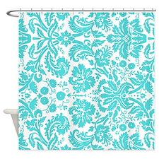 Aqua White Damask Pattern Shower Curtain