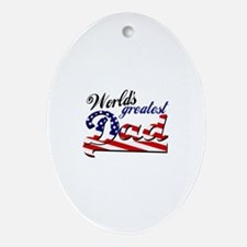 Worlds greatest dad USA flag Ornament (Oval)