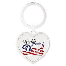 Worlds greatest dad USA flag Keychains