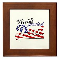 Worlds greatest dad USA flag Framed Tile