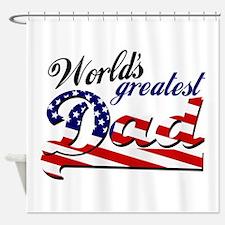 Worlds greatest dad USA flag Shower Curtain