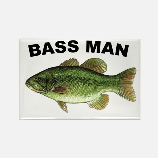 Bass Man ( Ass Man ) Fishing Rectangle Magnet