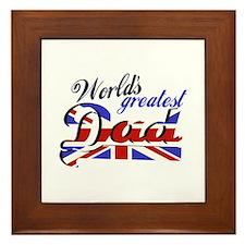Worlds greatest dad British flag Framed Tile