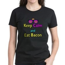 Crown Sunglasses Keep Calm And Eat Bacon Tee