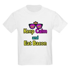 Crown Sunglasses Keep Calm And Eat Bacon T-Shirt