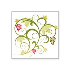 """Cute Retro Grape Vine Square Sticker 3"""" x 3"""""""