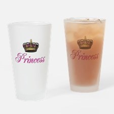 Pink Princess with crown Drinking Glass