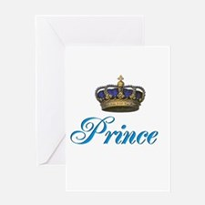 Blue Prince text with crown Greeting Card