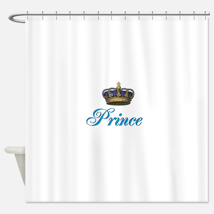 Blue Prince text with crown Shower Curtain