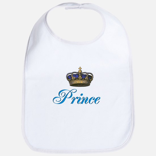 Blue Prince text with crown Bib
