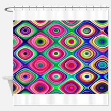 Colorful Psychedelic Round Checks Shower Curtain