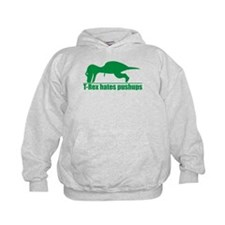 Funny Green T-rex Hates Pushups Hoodie
