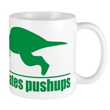 Funny Green T-rex Hates Pushups Mug