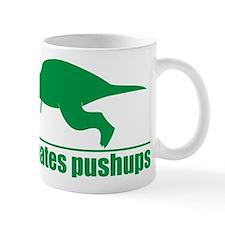 Funny Green T-rex Hates Pushups Small Mug