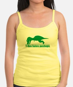 Funny Green T-rex Hates Pushups Tank Top