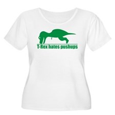 Funny Green T-rex Hates Pushups Plus Size T-Shirt