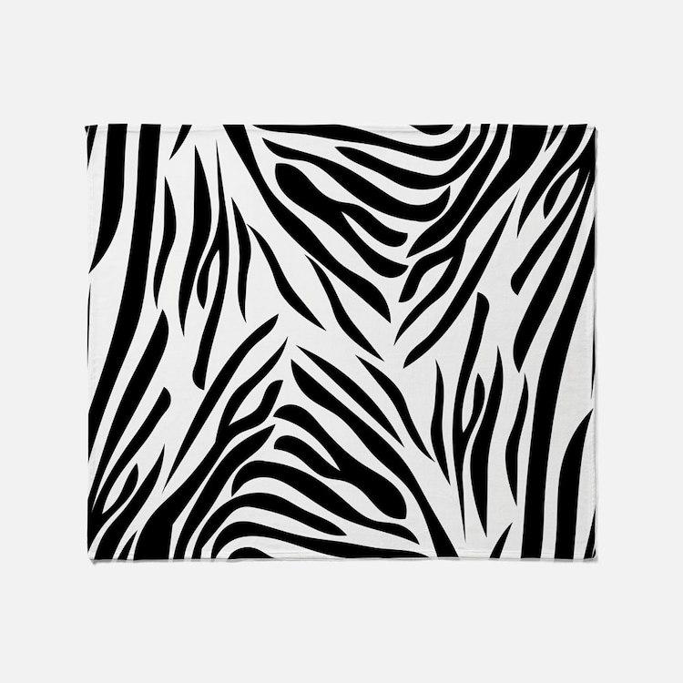 Black And White Zebra Print Throw Blanket
