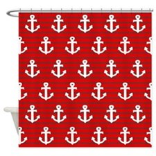 'Red Anchors' Shower Curtain